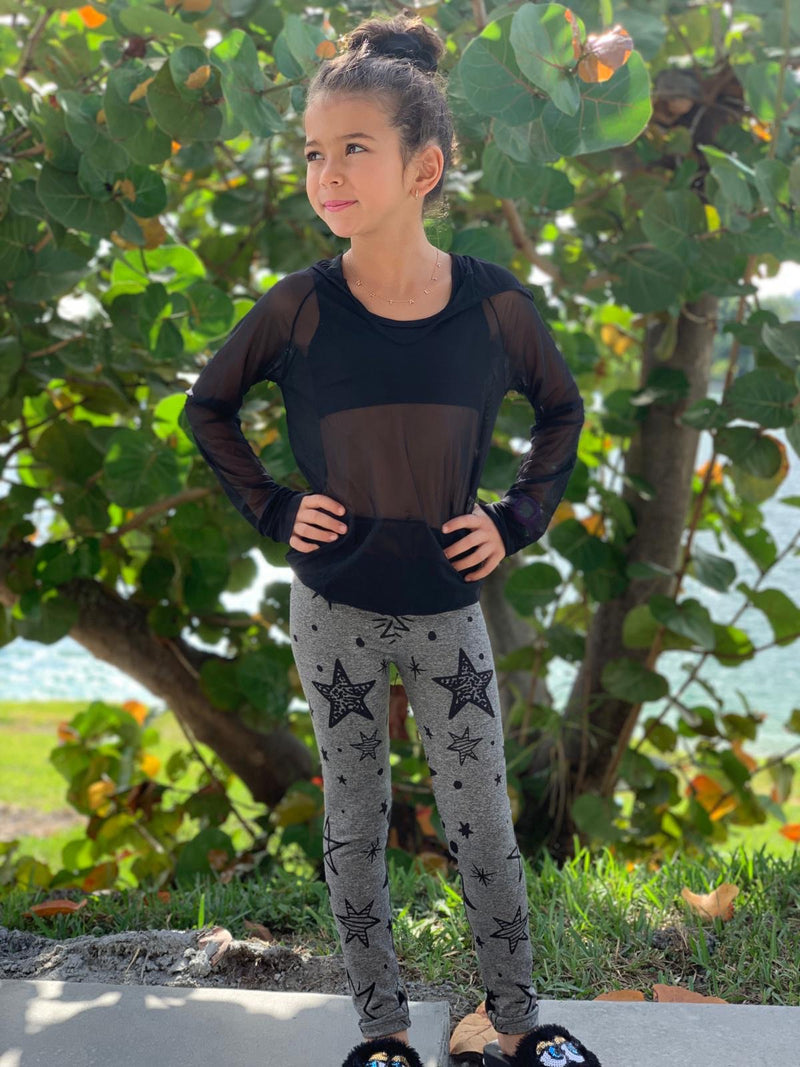 Stars Black Grey Leggings