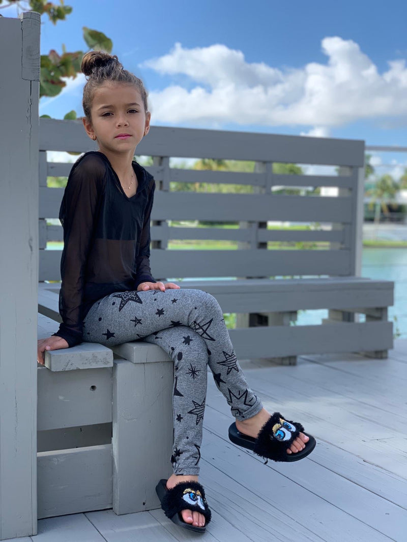 Stars Black Grey Leggings - Fanilu Activewear For Kids