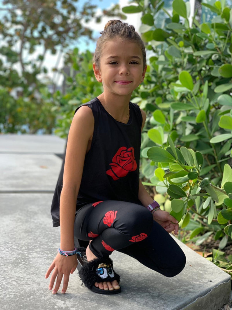 Roses Red Tank - Fanilu Activewear For Kids