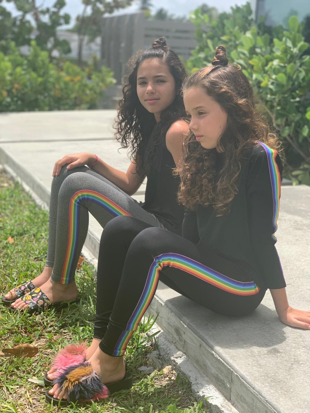 Stripe rainbow black legging-Legging-Fanilu
