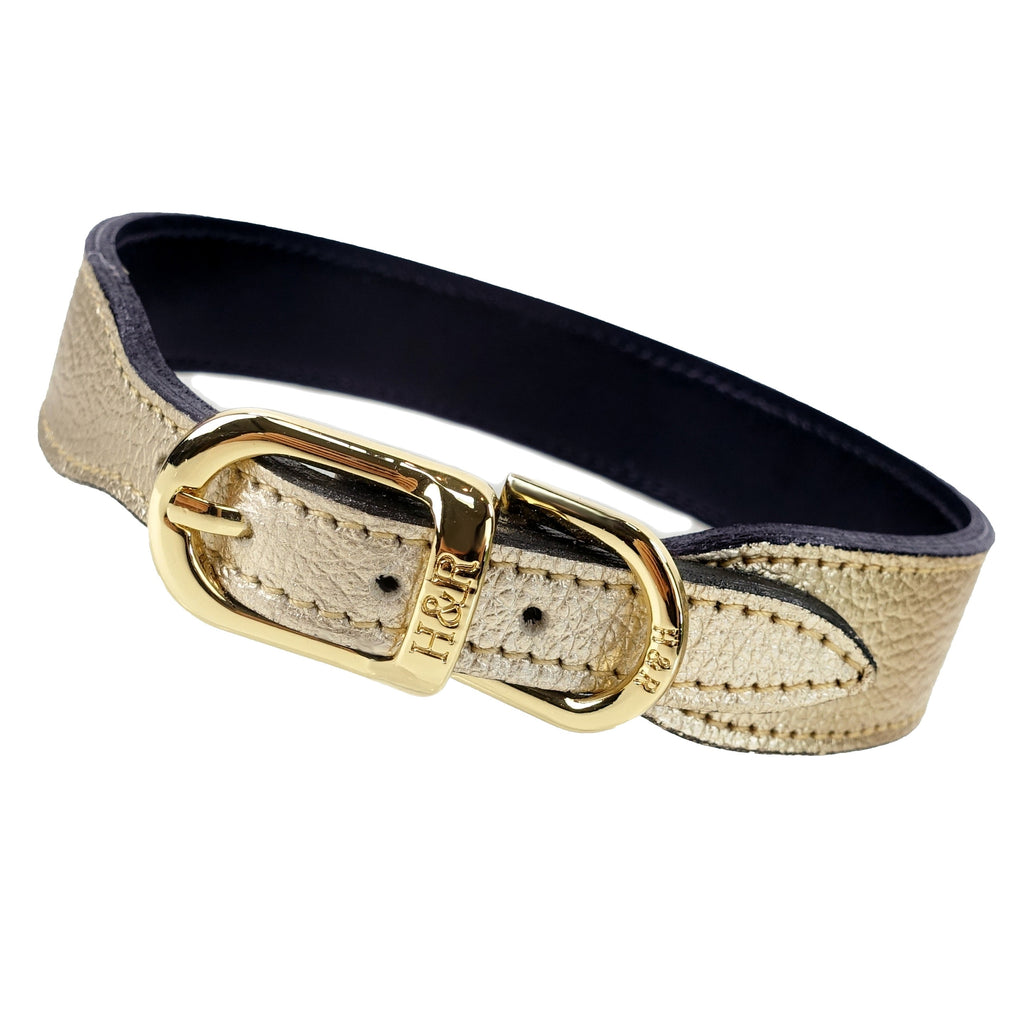 Italian Gold Metallic Leather Collar
