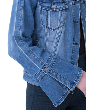Split Bell Sleeve Jean Jacket