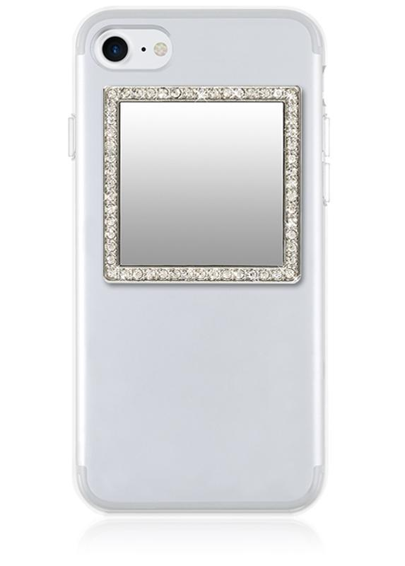 Square Phone Mirror w/Crystals