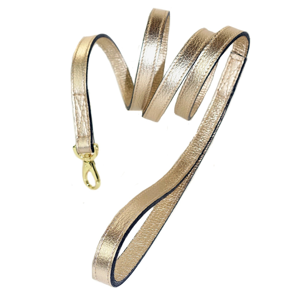 Italian Metallic Gold Leather Lead