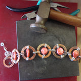 Copper & Sterling Bracelet with Coral Freshwater Pearl Coins