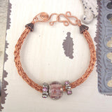 Copper Viking Knit Bracelet with Pink Glass Beads