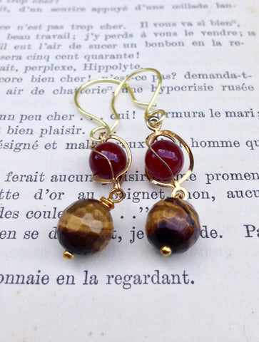 Maroon Beads and Tiger Eye Earrings