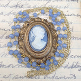 Powder Blue and White Cameo Necklace