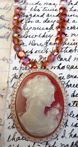 Coral and Ivory Colored Cameo Necklace