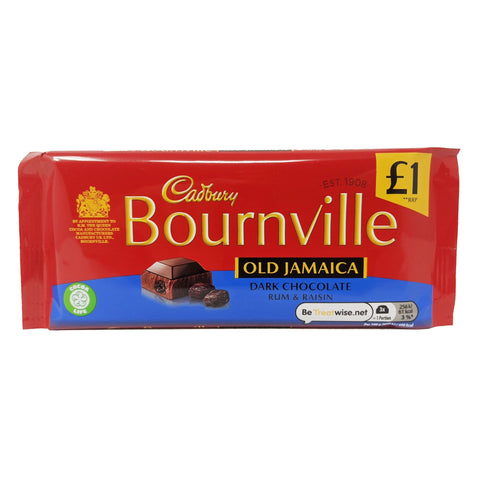 Cadbury Bournville Old Jamaica Dark Chocolate Rum & Raisin 100g - Blighty's British Store