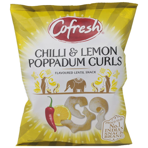 Cofresh Chili & Lemon Poppadum Curls 80g - Blighty's British Store