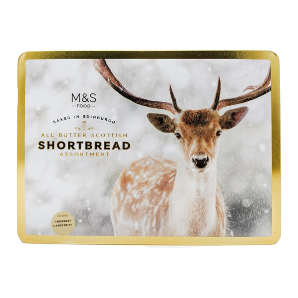 M&S All Butter Scottish Shortbread Assortment Stag Tin 650g - Blighty's British Store
