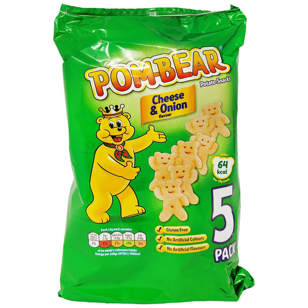 Pom-Bear Cheese & Onion 5 Pack (5 x 13g) - Blighty's British Store