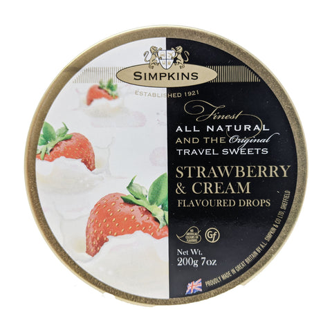 Simpkins Strawberry & Cream Flavoured Drops 200g - Blighty's British Store