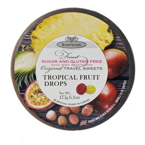 Simpkins Tropical Fruit Drops Sugar & Gluten Free 175g - Blighty's British Store