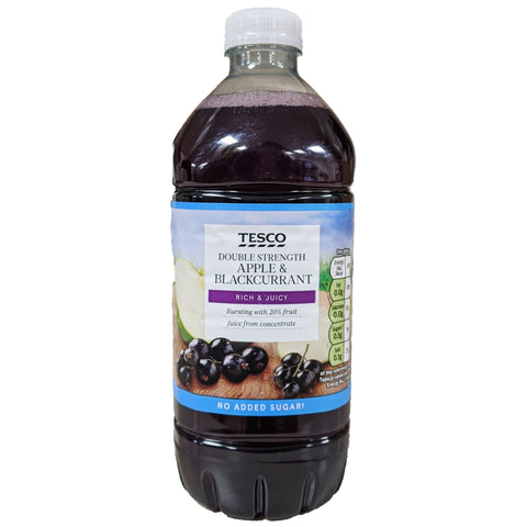 Tesco Double Strength Apple & Blackcurrant Squash 750ml - Blighty's British Store
