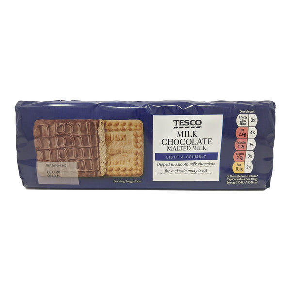 Tesco Milk Chocolate Malted Milk Biscuits 250g - Blighty's British Store