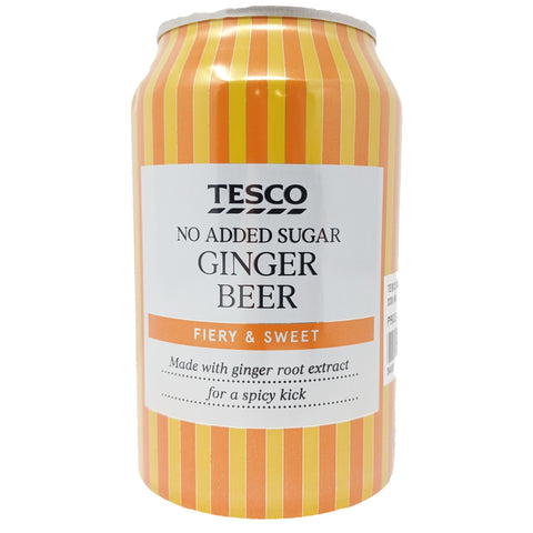 Tesco No Added Sugar Ginger Beer 330ml - Blighty's British Store