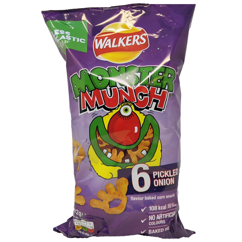 Walker's Monster Munch Pickled Onion 6 Pack (6 x 22g) - Blighty's British Store