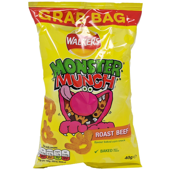 Walker's Monster Munch Roast Beef Grab Bag 40g - Blighty's British Store