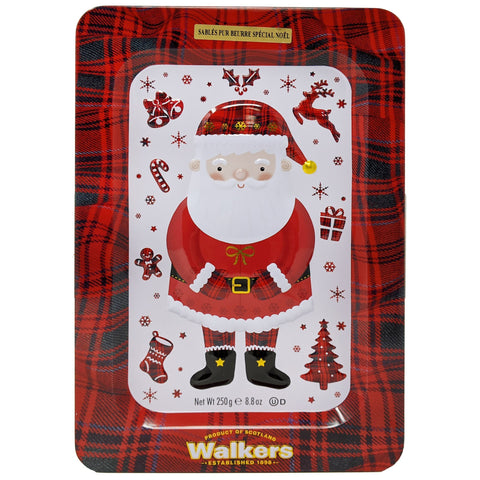 Walkers Pure Butter Shortbread Santa Tin 250g - Blighty's British Store