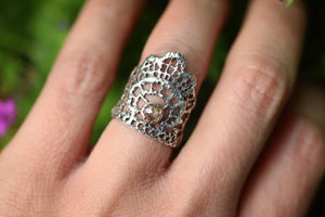 Boho Lace wide band ring with rose cut diamond set in solid 14k gold US 5