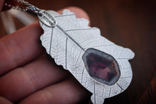 Sterling silver barn owl natural Trapiche Amethyst succulent leaf necklace