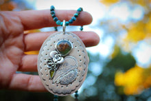Large statement reversible raven skull and moth turquoise chain necklace
