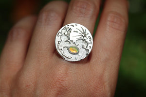 Welo opal moon ring US size 7