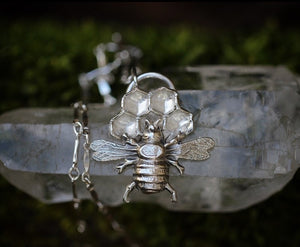 Sterling silver bee on honeycomb necklace