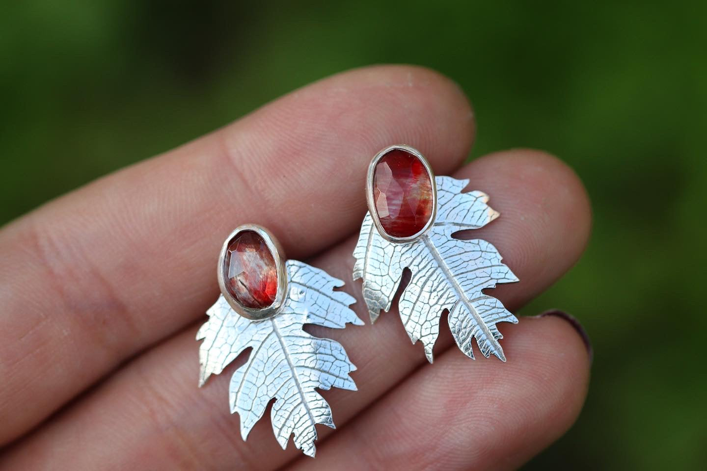 Andesine post earrings with hawthorne leaf ear jacket