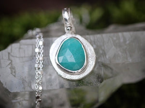 Reversible crescent moon wax seal necklace with rose cut Amazonite