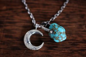 Sterling silver natural Godber Burnham turquoise nugget starry moon textured wire necklace #20