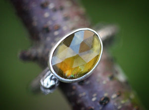 Rose cut yellow tourmaline twig ring fits a US size 7-7.5