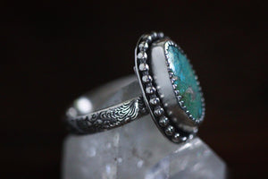 Sterling silver natural turquoise mountain turquoise ring US 5.5