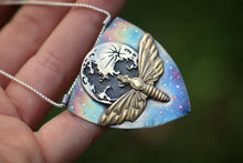 Reversible luna moth and bat shield necklace