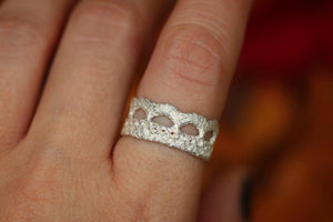 Simple solid cast sterling silver boho lace ring