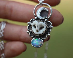 owl necklace with a MOP crescent moon and a natural rose cut Ethiopian opal