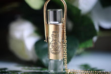 Double brass potion bottle and sage bundle rollerball necklace
