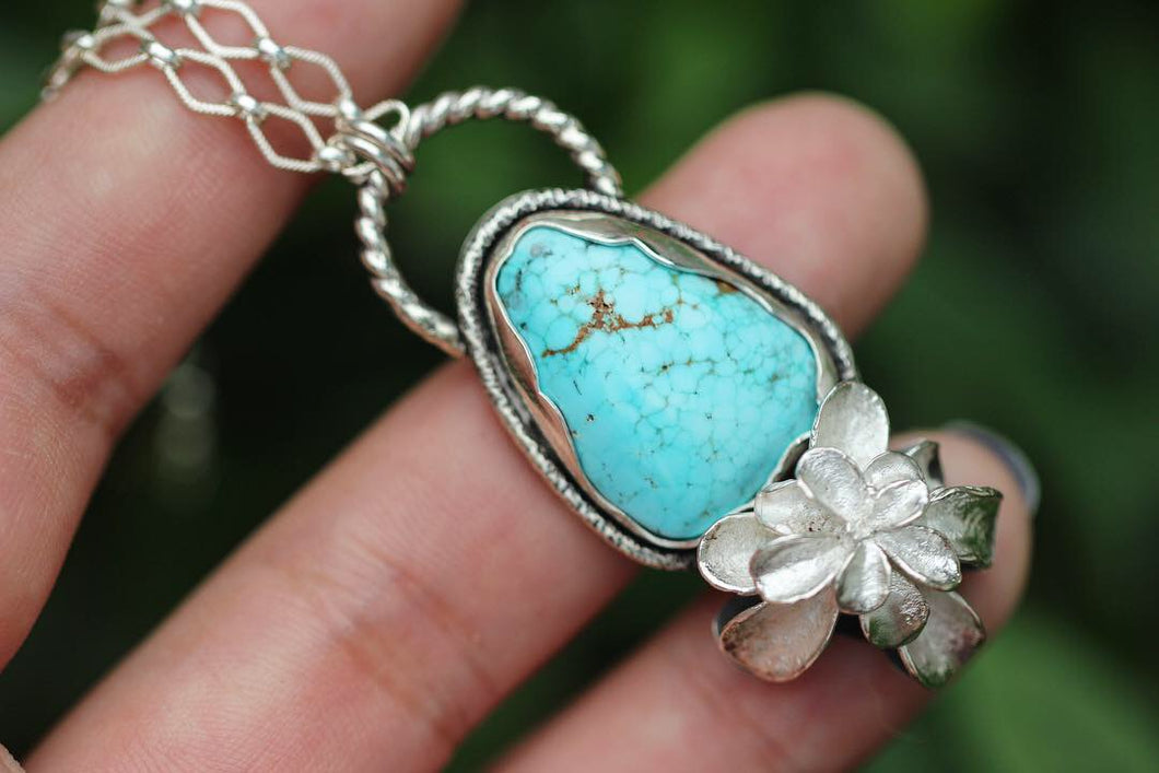 Number 8 turquoise and succulent necklace