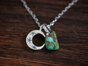 Sterling silver natural Castle Dome turquoise nugget starry moon textured wire necklace #1