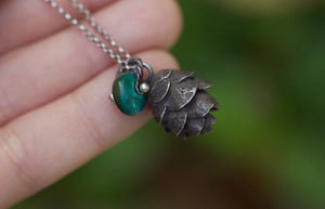 Solid sterling silver hemlock cone turquoise necklace #2