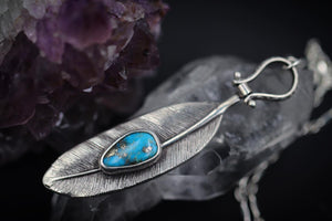 Sterling silver feather natural Morenci turquoise necklace