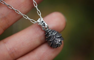 Mini solid sterling silver hemlock cone necklace #1