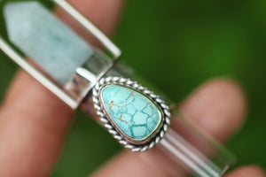 aquamarine crystal and number 8 turquoise sterling silver rollerball necklace
