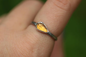 yellow tourmaline leaf twig ring US 7.5