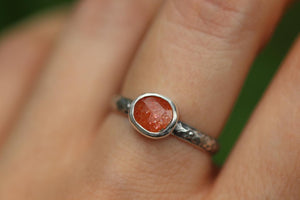 Rainbow sunstone ring US 7.5