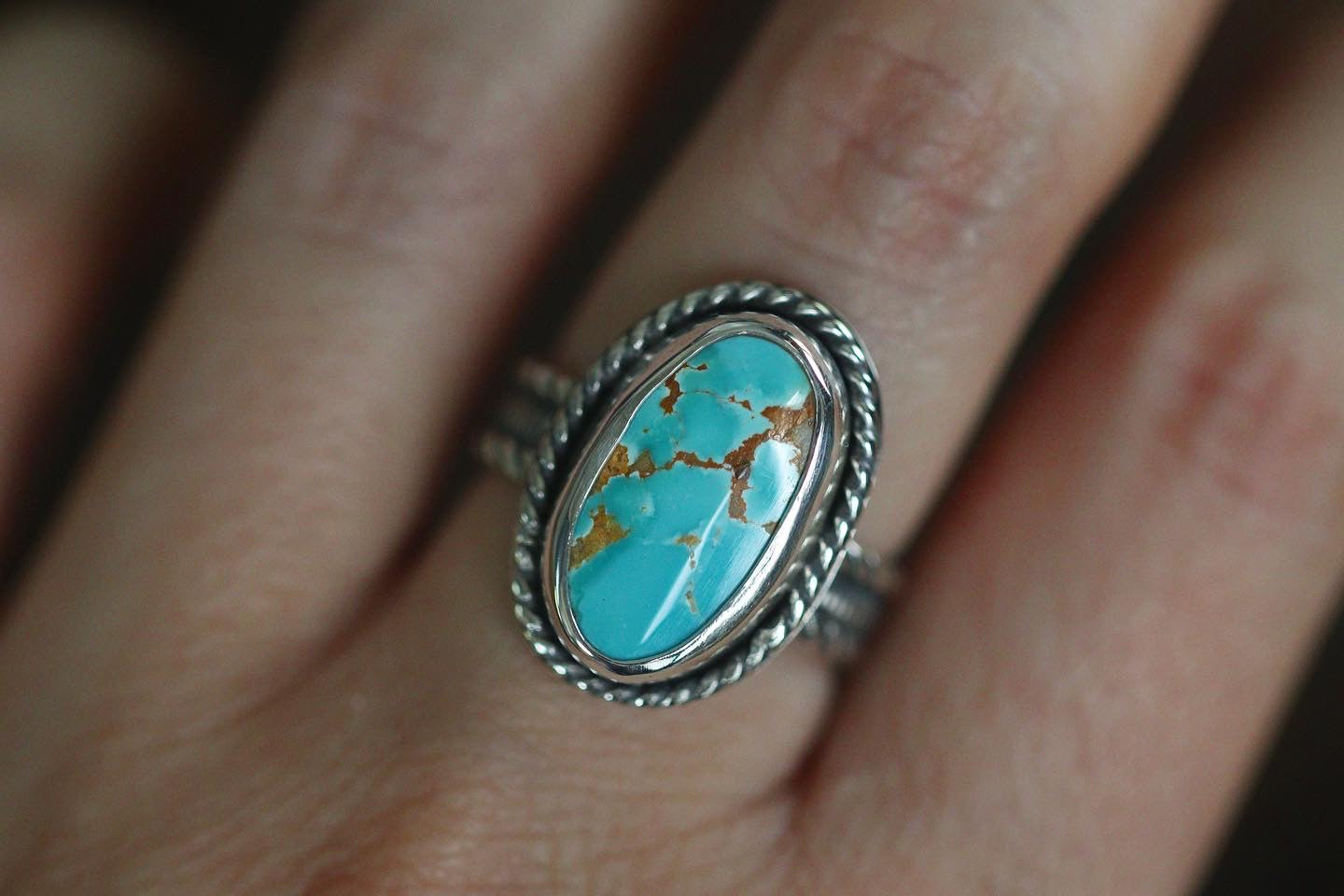 Sterling silver natural Pilot mountain turquoise ring US 7