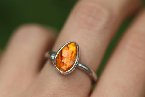 burnt orange tourmaline twig ring US 7.25
