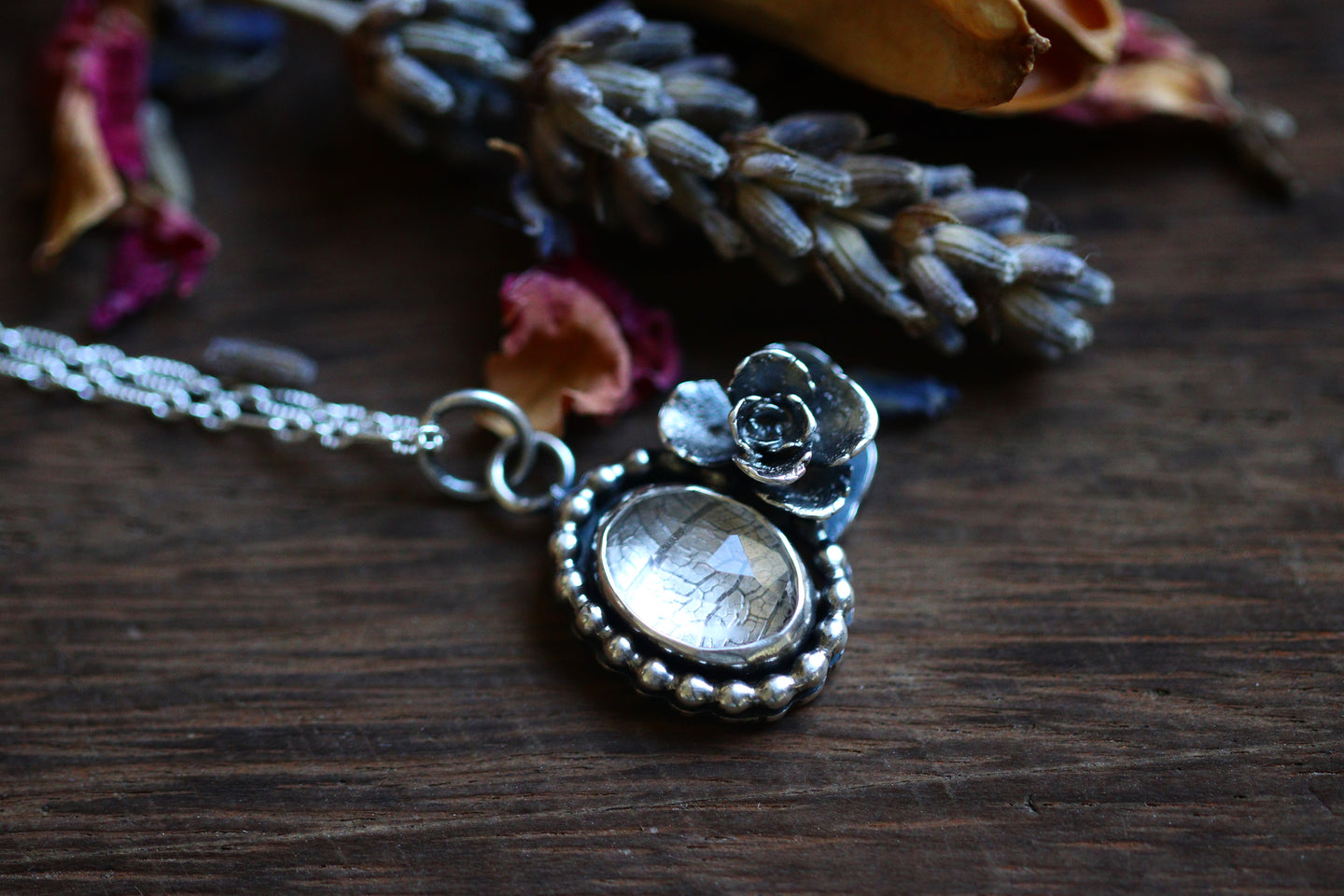 Victorian style quartz succulent necklace